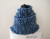 Long Denim Blue Scarf, Women's Scarf, Hand Knit, Chunky Knit, Soft and Fluffy, Warm Scarf, Winter Scarf, Hand Made Gift