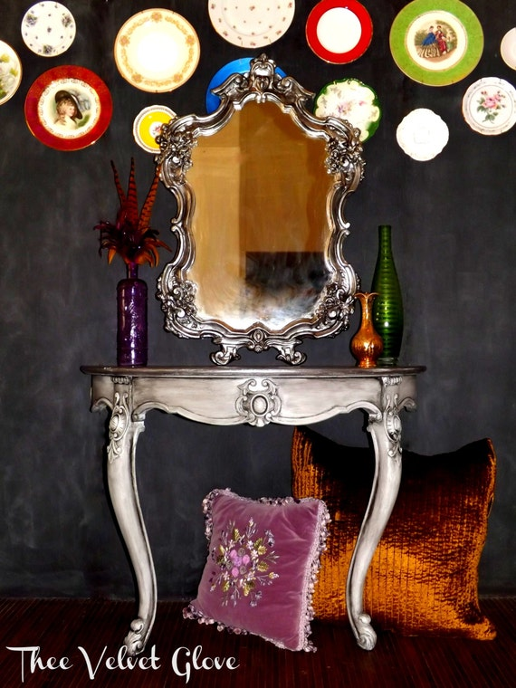 Reserved For Tori Ornate Half Moon Table And Mirror 1 Of 2
