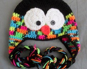 Crochet Penguin Earflap Hat -Black and Bright Neon- ANY size Baby, Child, Adult, crochet penguin hat, penguin hat
