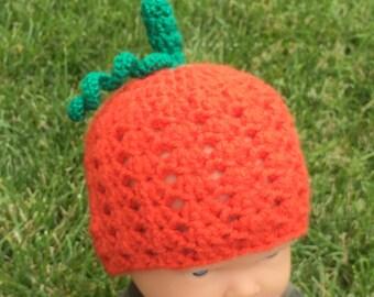 Crochet Pumpkin Beanie  Hat -Baby and Child Sizes, Halloween Hat, Pumpkin Hat, Kids Pumpkin hat, Newborn
