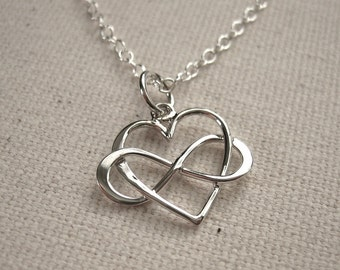 Infinity Heart Sterling Silver Necklace - Eternal Love Jewelry - Customize Personalize
