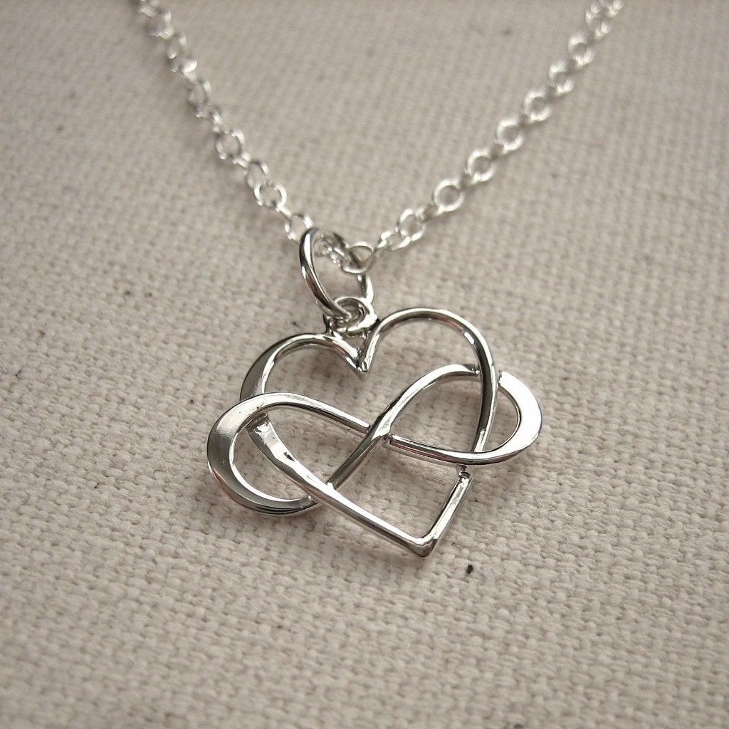 infinity heart sterling silver necklace eternal love by peytra. Black Bedroom Furniture Sets. Home Design Ideas
