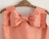 The Audrey Dress in 100% peach silk, peach flower girl dress