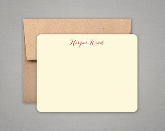 Personalized Stationery - Flat Notes Gift Set with Kraft Envelopes - Personalized Stationary