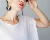 Ocri Hoop Earrings Midnight Blue Earrings Lace Earrings Statement Earrings Modern Earrings Gold Earrings Girlfriend Gift For Her