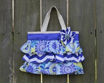 NEW Ruffled Canvas Tote Bag Blue Chevron, Lime Green and Turquoise Little Girl Purse, Diaper Canvas Tote, Diaper Bag Accessory