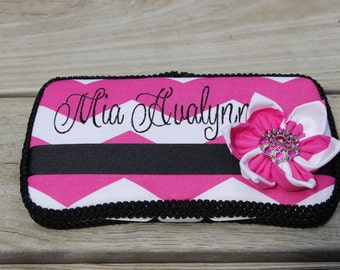 NEW Hot Pink Chevron and Black Boutique Wipe Case