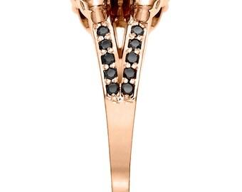 2ct Black Diamond & Rose Gold Skull Ring