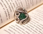 handmade green jade  ring-energy-reiki- wire wrapped jewelry handmade-adjustable ring-silver ring
