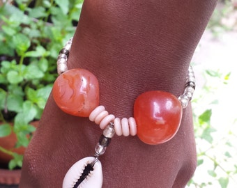 XS and MEDIUM - Red and White Agate, Cowrie Shell, and Seed Bead Bracelet