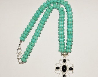 Turquoise Necklace with Silver and Black Onyx Pendant  - S2375