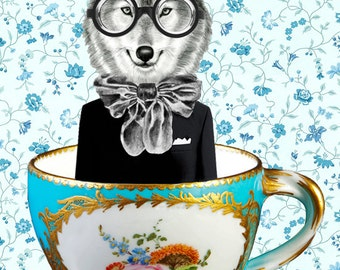Fox print, Fox painting, Fox illustration, Nursery wall art, animal alphabet print, forest animal, woodland wall art :Fox in A Cup
