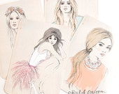 Fashion Illustration Postcards - 1960s Fashion - Pink - Peach - Blue - Gift for Her - Flowers - Feathers - 4 Pack - Pastel