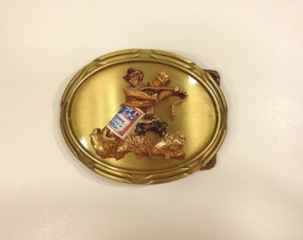Cowboy Wrangling Budweiser Beer Bottle Belt Buckle Funky Metal Alcohol Brew Bud Man Classic Superbowl Rodeo Wild West Western 1978 70s 1970s