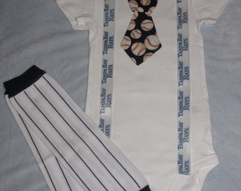 TAMPA BAY RAYS inspired baseball outfit for baby boy - tie bodysuit with suspenders and leg warmers
