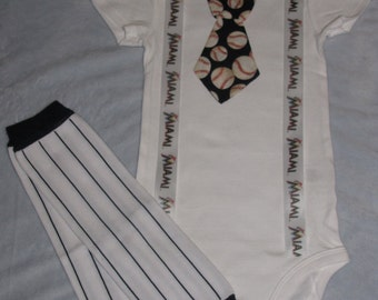 MIAMI MARLINS inspired baseball outfit for baby boy - tie bodysuit with suspenders and leg warmers