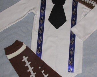 BALTIMORE RAVENS inspired football outfit for baby boy - tie bodysuit with suspenders, crochet hat, leg warmers