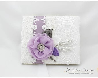 READY TO SHIP Wedding Lace Guest Book Custom Jeweled Bridal Flower Brooch Guest Books in White and Lavender Lilac with Jewels, Crystals
