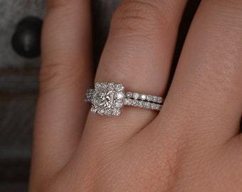 Princess Cut Diamond Engagement Ring and Wedding Band Set (14K White Gold)
