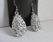 Silver Teardrop Faux Druzy Dangle Earrings, Perfect for a Wedding or Prom