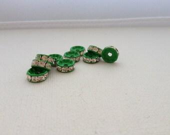 10 - 10mm Green Painted Crystal Rhinestone Rondelle Spacers