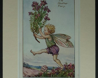 1925 Vintage Print Of The Heather Fairy - Flower Fairies Of The Summer First Edition - Cicely Mary Barker Print - Wildflower - Pixie Print