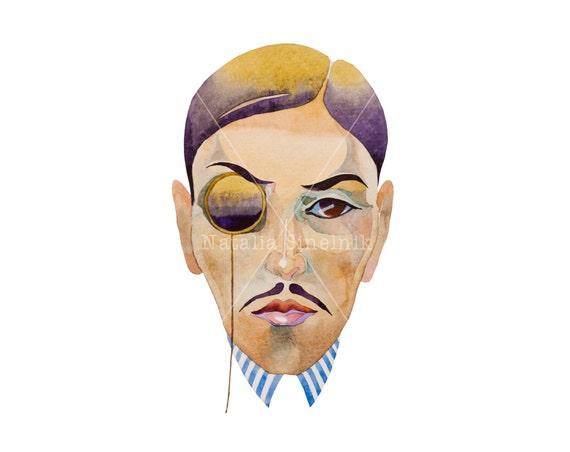 Steampunk retro man portrait digital download from original watercolor avatar or tshirt design, art deco style clipart
