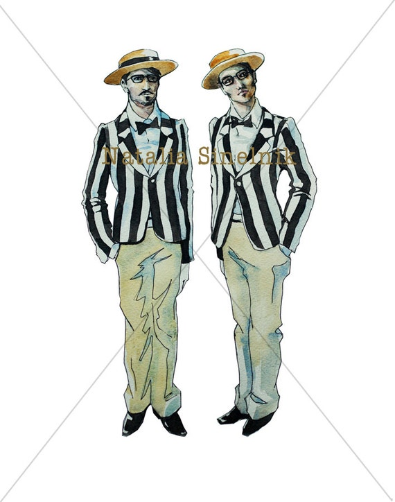Retro twins gemini sign two men in striped jakets and canotier digital download from original watercolor clipart