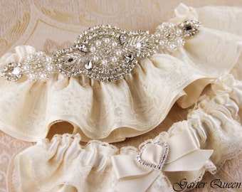 Ivory Wedding Garter Set, Ivory Lace Garter, Ribbon and Lace Garter, Rhinestone Garter, Pearl Garter, Personalized Garter, Keepsake