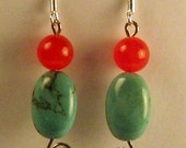 Turquoise & Red Silver Earrings