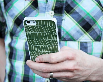 iPhone 5/5s iPhone 5c iPhone 6/6plus Samsung Galaxy S3 S4 S5 iPod touch 4th/5th Gen - Geometric Pattern Lines Abstract Olive- d010411