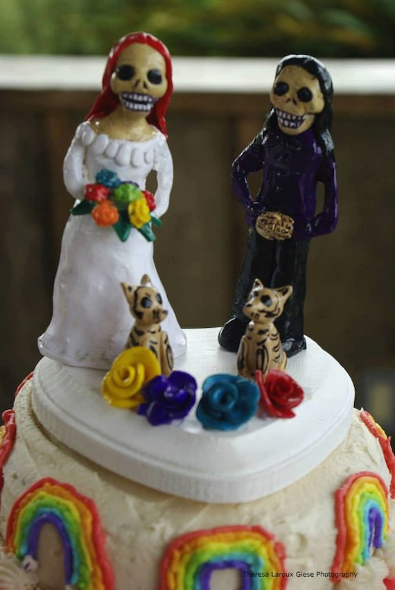 Day of the Dead Same Sex Lesbian Wedding Cake Topper Polymer