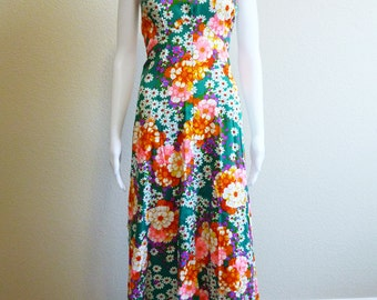 Mod Bark Cloth Dress Small - Psychedelic Bouquet - Pink Green Orange Floral Maxi