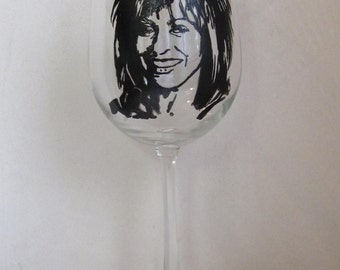 Hand Painted Wine Glass - TINA TURNER