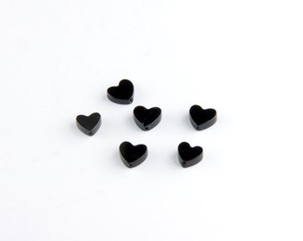 Dark Heart Beads in Black Onyx or Hematite