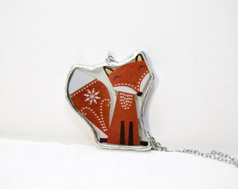 FREE SHIPPING  Fox Cut Out Encased in Hand Cut Glass and Soldered Glass Pendant Necklace