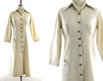 SALE vintage 70s khaki shirtdress / button front collared tan dress XS/S
