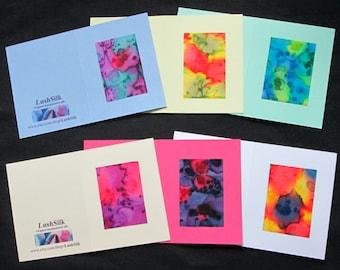 Note cards, set, silk, handpainted, gift, box, blank