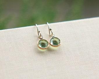 Birthstone Earrings, Swarovski Birthstone Earrings, Gold Filled Earrings, Everyday Jewelry, Gold Earrings, Tiny Earrings, Bridesmaid Jewelry