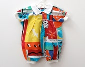 Vintage Mothercare cotton playsuit in bright holiday print, approx. 3-6 months