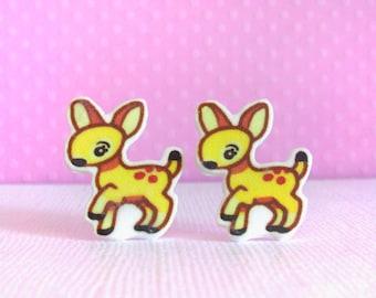 Lovely Deer Stud Post Earrings, Cute Stud Earrings for Girls Kids, Kawaii Animal Accessory Jewelry, Acrylic