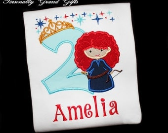 Birthday Princess Brave Merida Inspired with Crown Custom Embroidered Applique Personalized Shirt or Bodysuit-For ANY Age