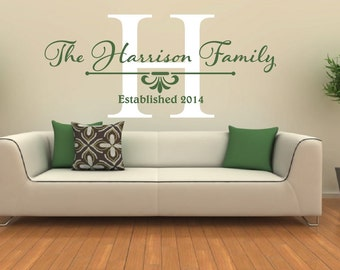 Family Name Wall Decal - Family Monogram Wall Decal - Family Established Date Vinyl Wall Decal - Family Decor Custom Family Wall Decal