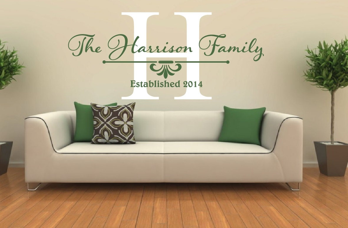 Family Name Wall Decal Family Monogram Wall Decal Family