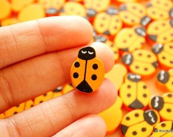 Orange Ladybug Wood Beads x 10