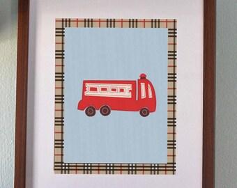 8x10 or 11x14 Fire Engine Nursery Art Print Inspired by Nojo Engine 27 Bedding | Fireman Room Decor