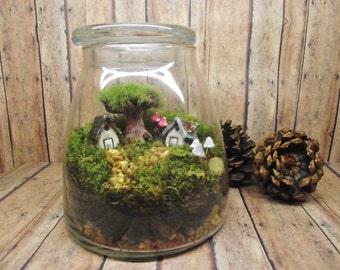 Large Miniature Landscape, Live Moss Terrarium with tiny raku fired ceramic houses, miniature tree, and mushrooms- Handmade by Gypsy Raku