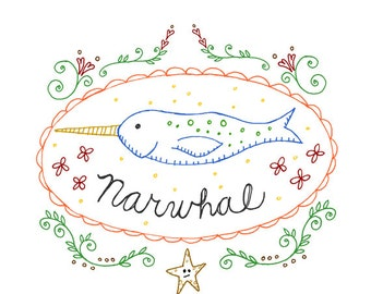 Narwhal Hand Embroidery Pattern Printables Cryptozoology Cryptid Download Ocean Digital Downloadable PDF Unicorn Whale Narwhale 0048