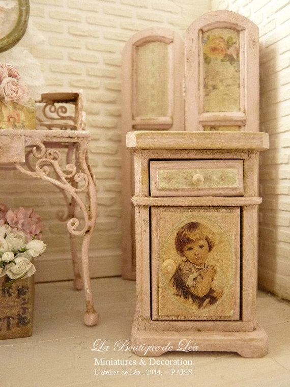 REISSUE - Retro bedside, Shabby pink, Furniture for a French dollhouse in 1:12th scale