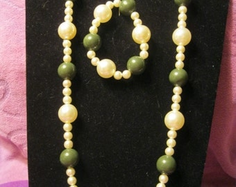 OLIVE GREEN And CREAM Jewelry Set